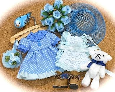 オビツ11サイズ手作り服:ブルー水玉ワンピ
