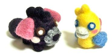 羊毛フェルトマスコット-くろベルとトベル