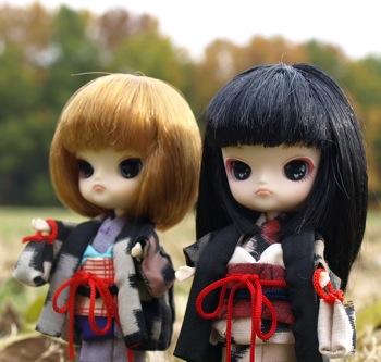 リトルダル+と羽織と着物と秋景色